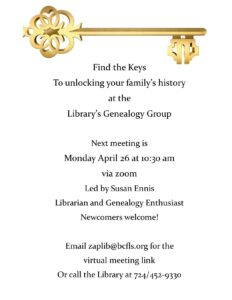 Genealogy Group April Meeting